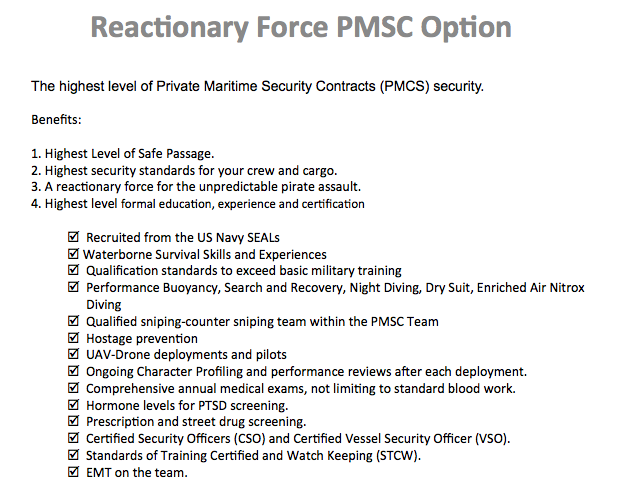Reactionary PMSC